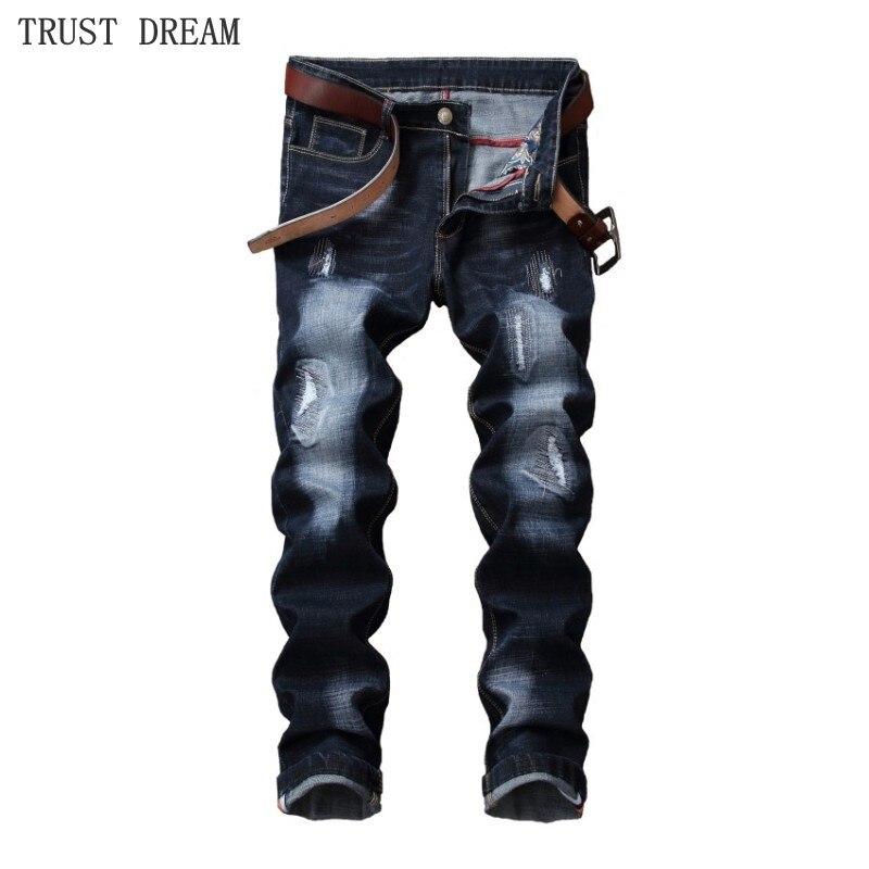 Pantalones vaqueros desgastados clásicos para hombre 2019, pantalones de mezclilla informales entallados lavado de piedra para hombre, pantalones vaqueros increíbles para hombre
