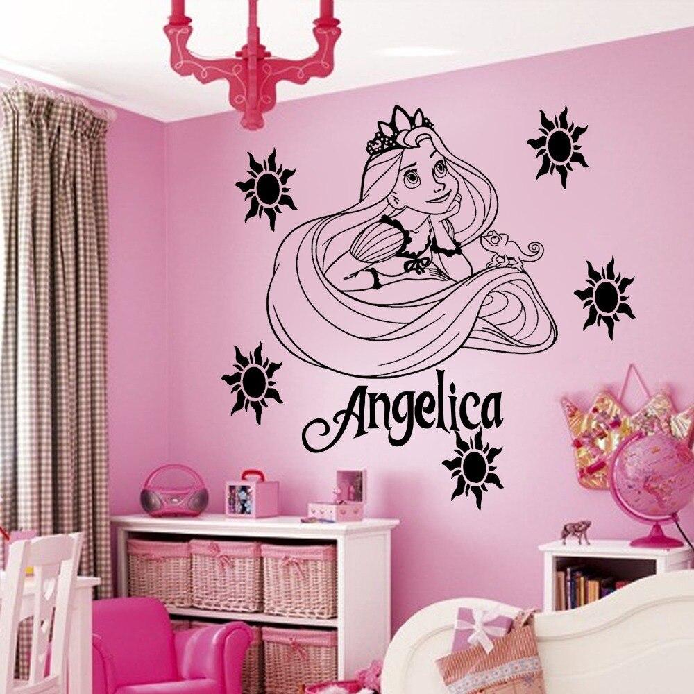 Adhesivo de vinilo personalizado de dibujos animados para pared de princesas, adhesivo para dormitorio de niñas, decoración de pared para habitación de niños, S-38 de papel