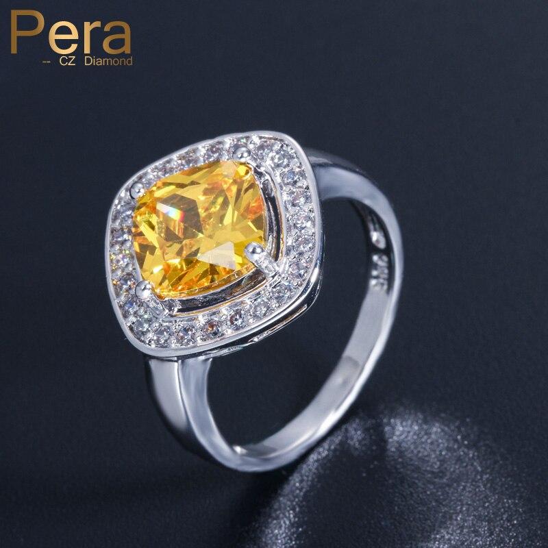 Pera 9 cores opção moda mulher cor prata jóias grande quadrado amarelo cristal cz pedra pavimentada anéis de festa para mulher r024