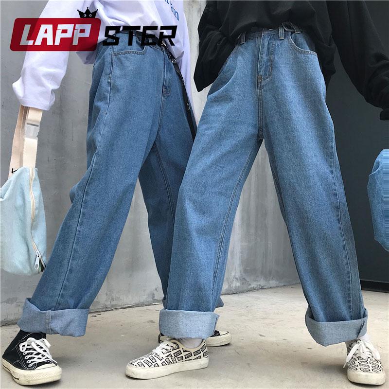 لابستر بنطلون جينز عالي الخصر للنساء 2020 جينز للنساء هاراجوكو دينم سراويلي حريمي بنطلون جينز واسع الساق أزرق