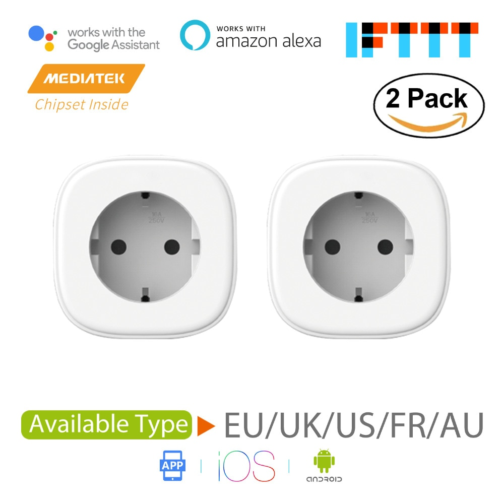 Smart wifi plug, alexa & google assistant & ifttt suportado, aplicativo de controle remoto mss210/mss310 2-pacote eua/ue/reino unido/fr padrão