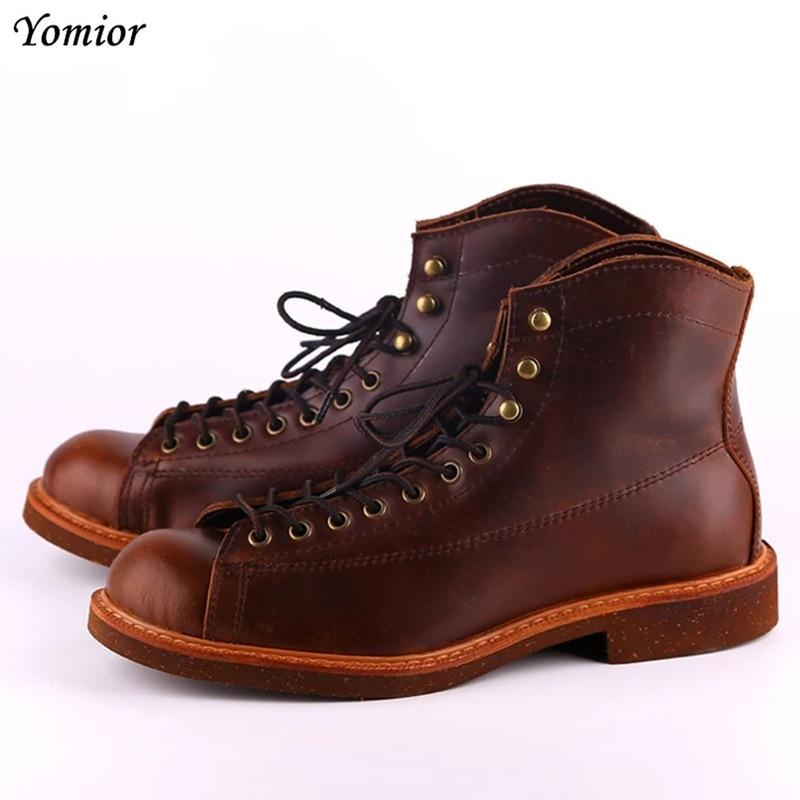 حذاء أحمر مصنوع يدويًا من الجلد الطبيعي للرجال مقاس كبير حذاء غير رسمي للخريف والشتاء على الطراز البريطاني حذاء عالي الجودة برقبة للشتاء