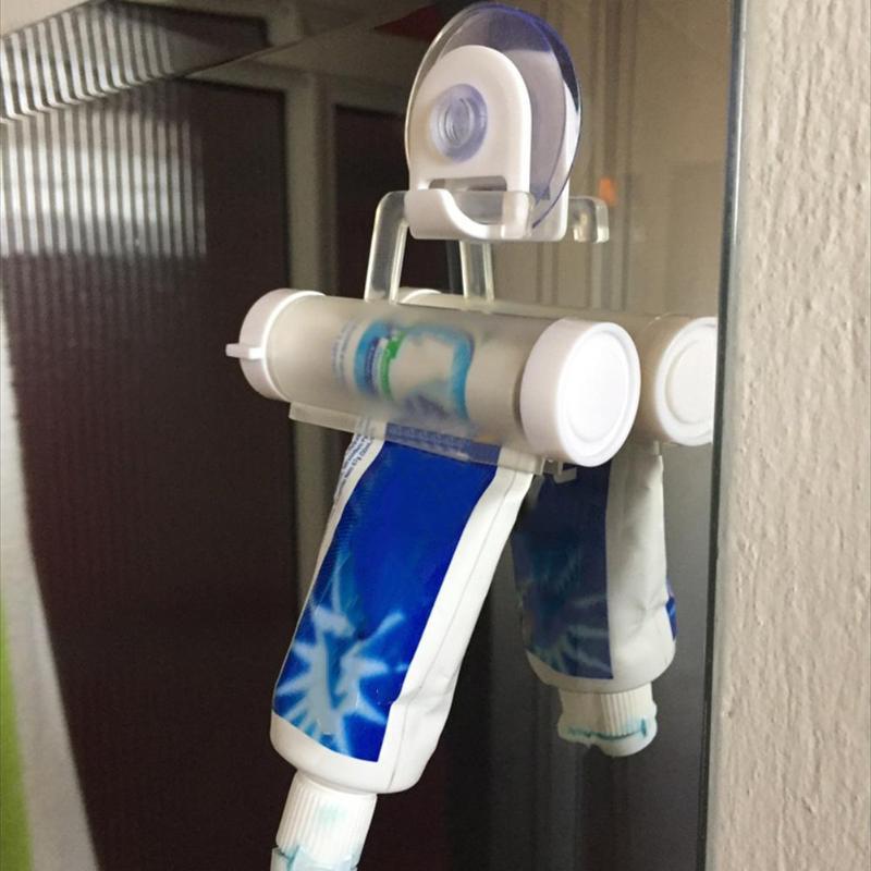 Rolamento squeezer dispensador de dentes tubo otário titular creme dental acessórios do banheiro seringa manual arma dispenser