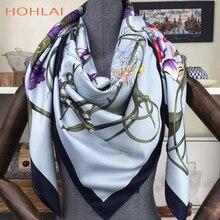 Foulard en soie sergé 130x130cm carré   Grand foulard Bufanda à fleurs imprimé, foulard Bandana pour femmes, foulard Hijab
