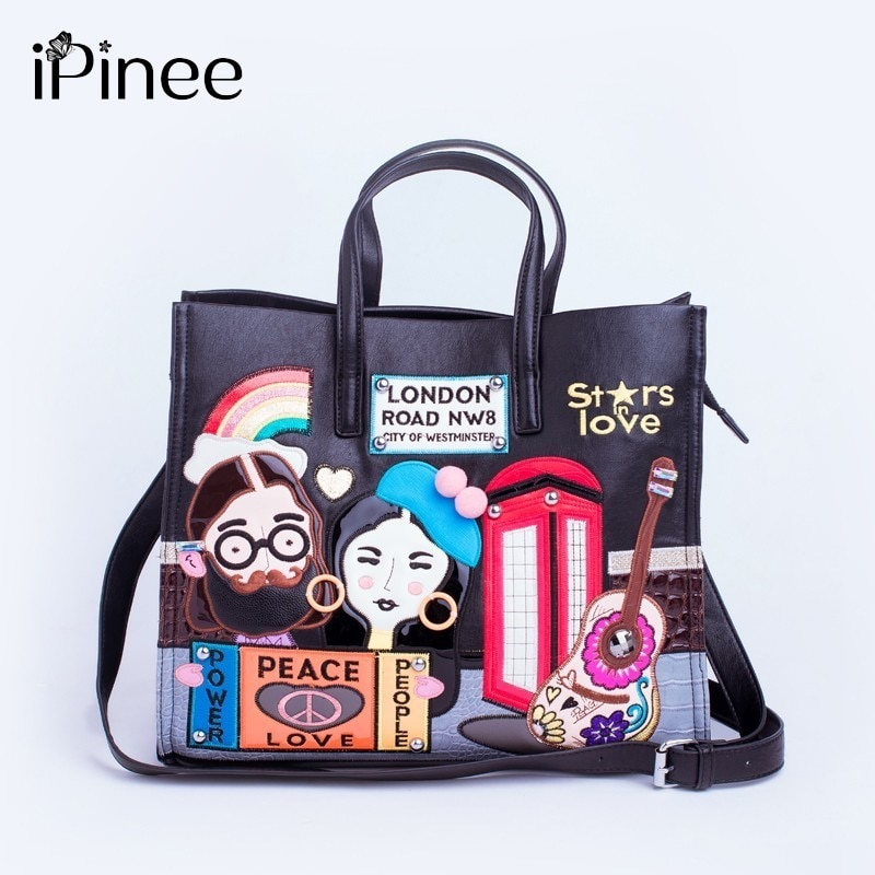 IPinee جديد 2020 حقائب النساء الموضة سعة كبيرة حمل حقيبة سيدة التطريز حقيبة ساعي من الجلد المصقول Bolsos