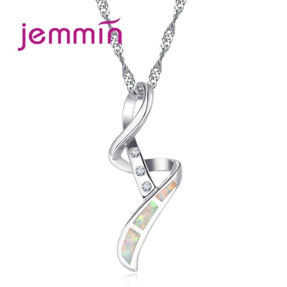 Único 925 colar de prata esterlina com pingentes geométricos jóias finas branco opala pingente colares para mulher