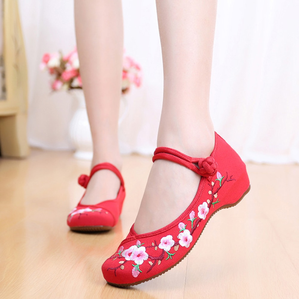 Zapatos chinos para mujer, zapatos informales de lona con bordado tradicional de flor de rey antiguo