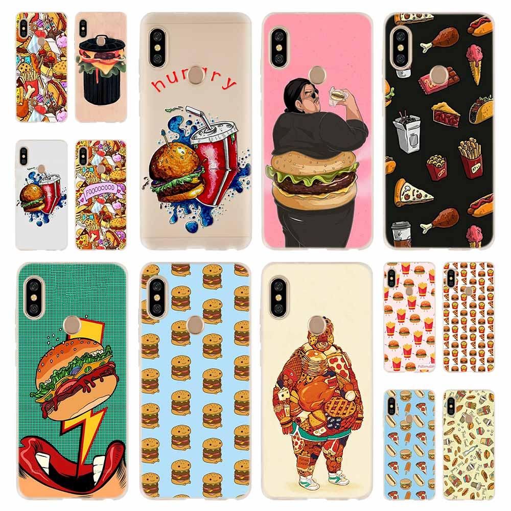 Chips Pizza food Hamburgers Fashion Soft TPU Case Cover For Coque Xiaomi Redmi 8A 4A 5A 6A 4X 5 Plus 6 Pro Note 8 7 Pro 6 5