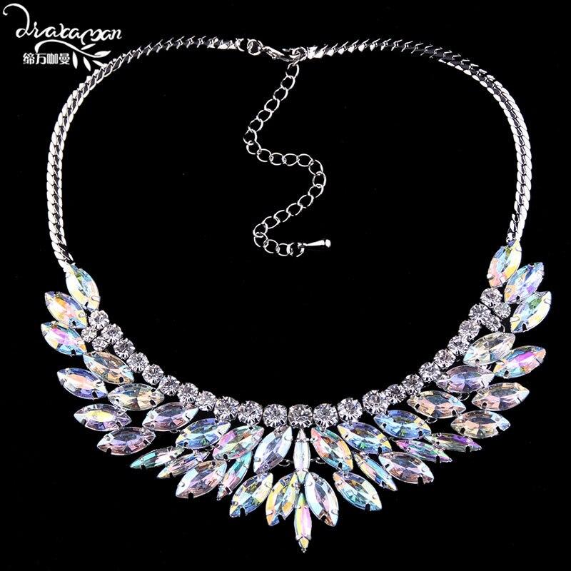 ¡Gran oferta! Gargantilla Dvacaman de Cristal AB brillante con diamantes de imitación, Collar corto de clavícula para mujer, collar de fiesta, joyería N67