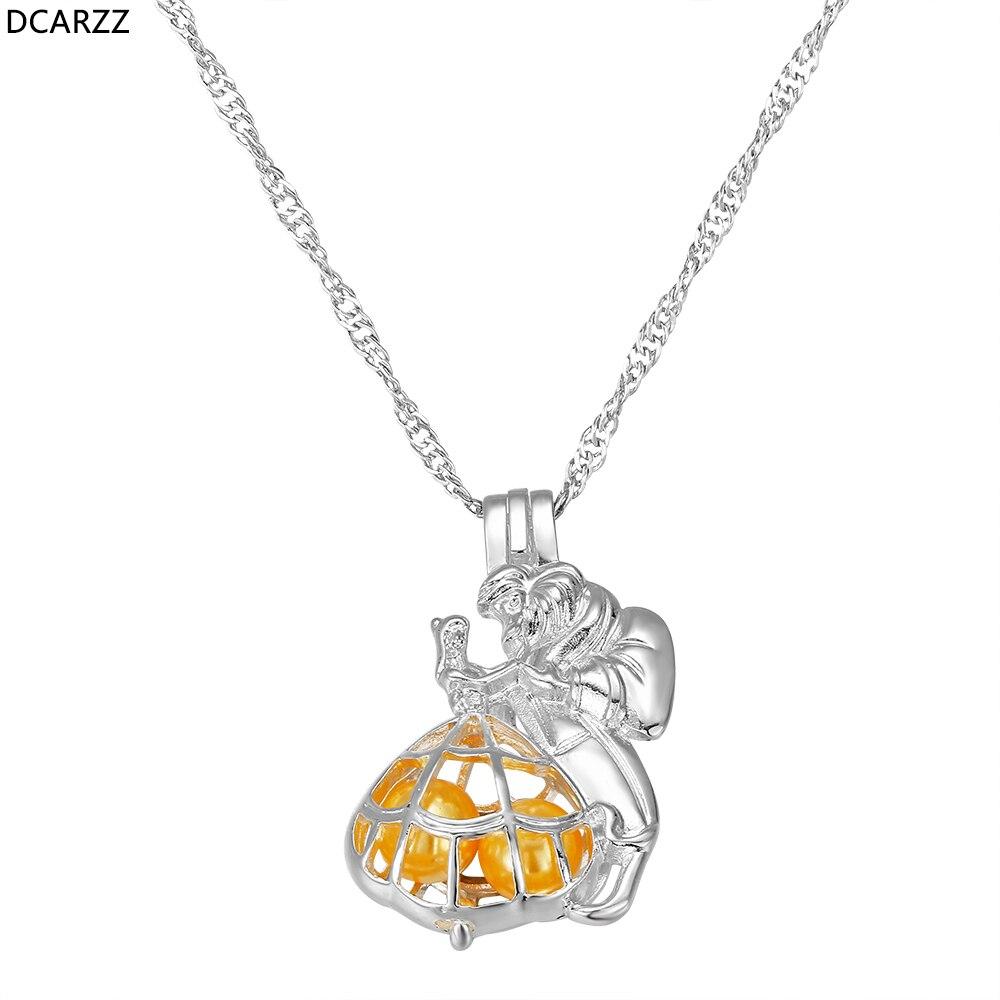 Belleza y la Bestia amante parejas collar perla jaula colgante Día de San Valentín mujeres regalo fiesta disfraz DIY joyería al por mayor