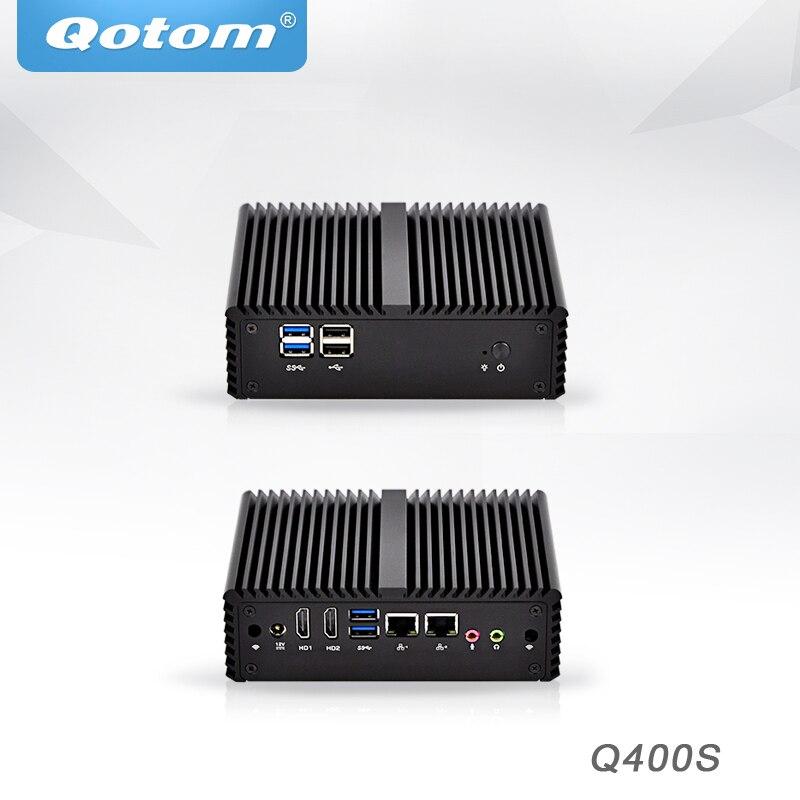 Qotom Mini PC Intel Core i3 i5 i7 Industrial Micro PC Barebone System Dual core dual lan Pfsense Desktop Mini Computer x86
