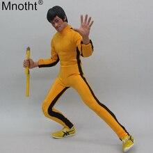 Mnotht 1/6 échelle Kung fu Bruce Lee jaune joint vêtements modèle chaussures de gymnastique Double barre costume jouet pour figurine soldat 12