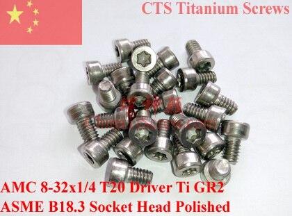 مسامير التيتانيوم 8-32X1/4 t20 توركس سائق المقبس رئيس كاب ti gr2 مصقول 50 قطع