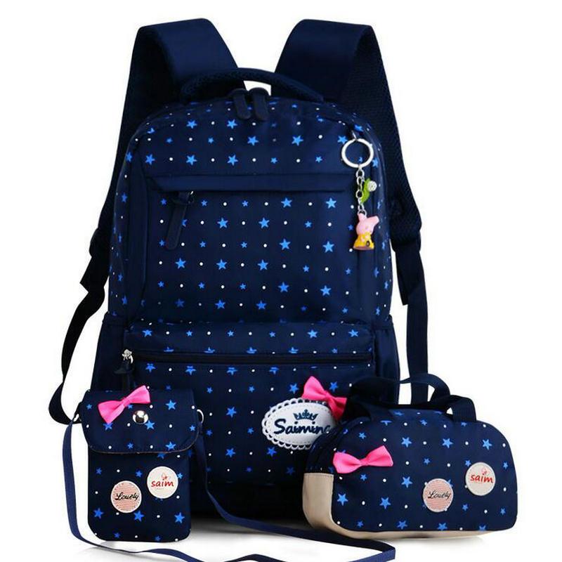 Large Capacity 3pcs/set Canvas Children School Bags Printed Girls Backpack High School Student Bag Cute Bow Shoulder Schoolbag