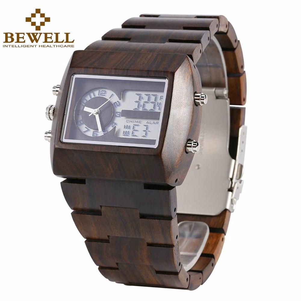 BEWELL-ساعات خشبية متعددة الوظائف للرجال ، ساعة يد رقمية ثنائية المنطقة الزمنية ، مينا مستطيلة LED ، منبه مع صندوق ساعة 021A