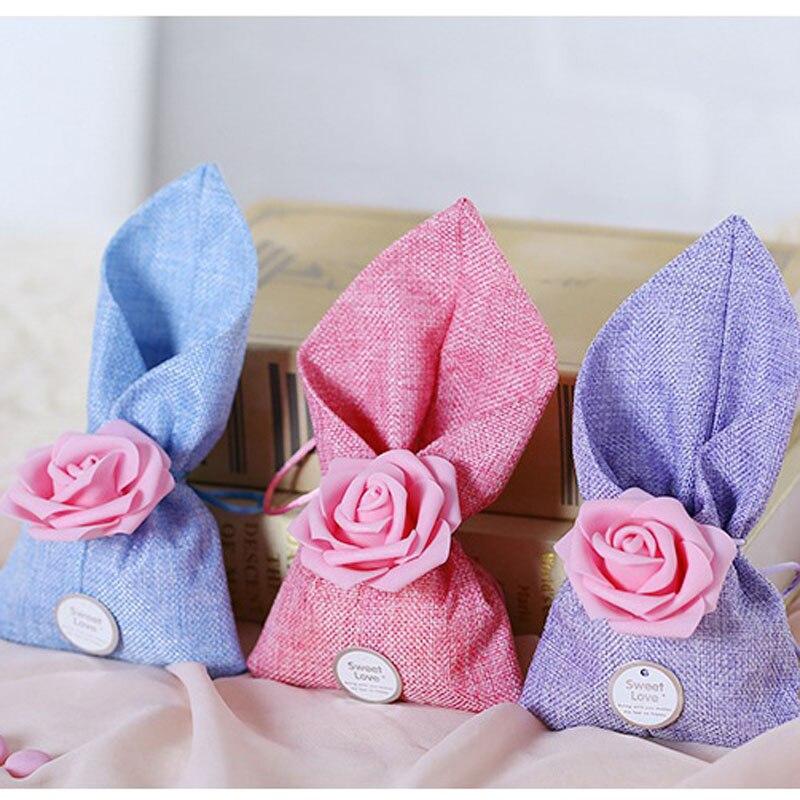 20 unids/lote DIY hermosa flor de PE de amor dulce bolsa de dulces de lino caja de regalo de recuerdo de boda de cumpleaños suministros para eventos felices