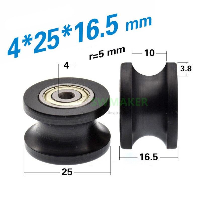 SWMAKER 1 Uds 4*25*16,5mm rueda cóncava ranurada U, rodamiento doble 634zz integrado, pista de 10mm de diámetro, rueda guía POM, Plástico