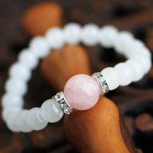 Hot Sale Natural Pink Crystal Rhinestone Bracelets & bangle 7mm Beads Charm Bracelet Elastic for Women Party Jewelry wholesale