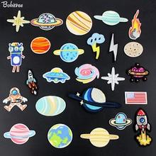Patchs brodés planète espace, pour vêtements, badges brodés, tissu autocollants faciles à poser appliqué, nouvelle collection