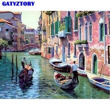 Frameloze Foto Venetië Zeegezicht DIY Schilderij van Nummers Moderne Muur Canvas Schilderij Tekening Home Decor 40x50cm kunstwerken