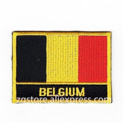 Parches bordados emblema de la bandera nacional Bélgica Parches de bandera planchar en 8,0x5,0 cm parches personalizados