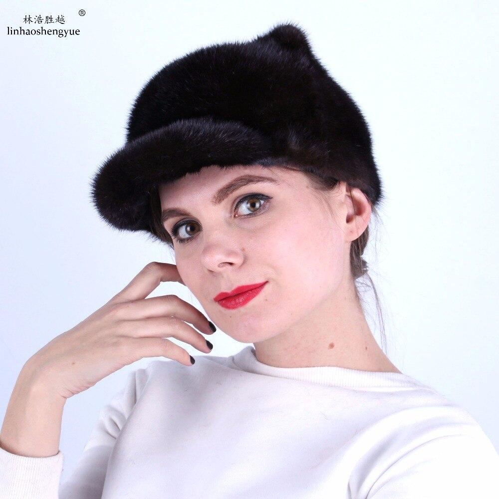 Linhaoshengyue  Fashion Women Mink Fur Cap  Ear Cap with  Mink Fur Tail  Skin Mink Hat