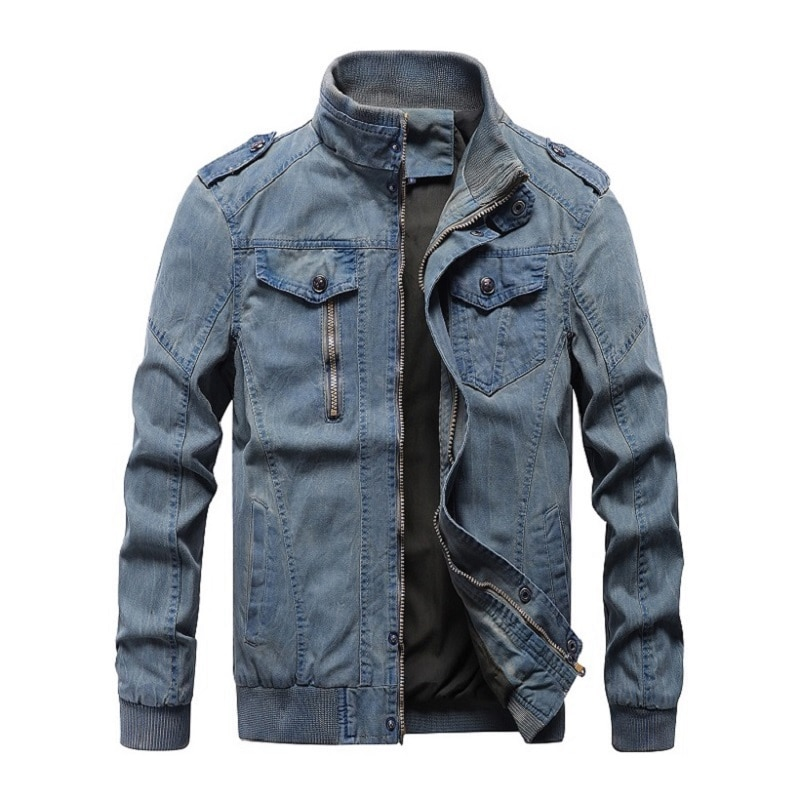 2020 Autumn Mens Denim Jacket Trendy Military Ripped Denim Jacket Mens Jeans Jacket Army Style Outwear Male Coats Large Size 6XL
