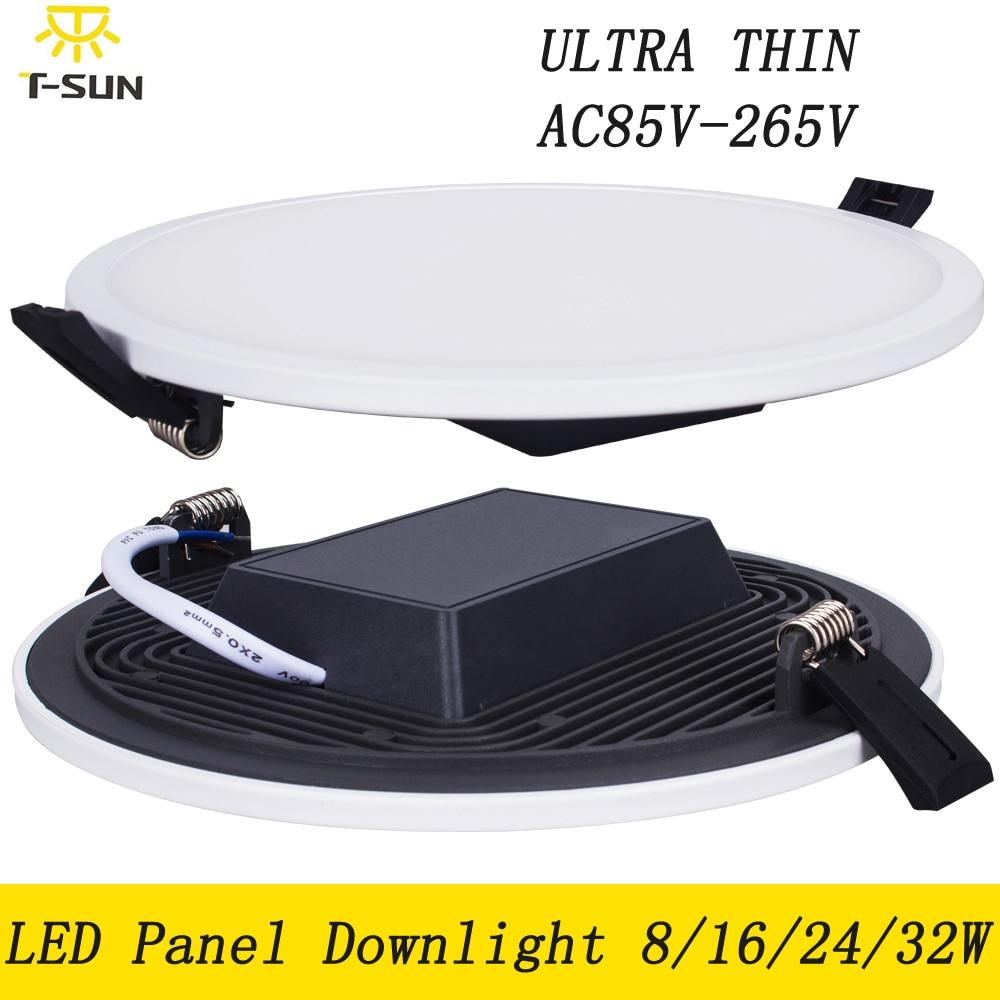 Panel de luz LED ultradelgado 8W 16W 24W 32W Downlight LED redondo techo empotrado para el hogar LED Panel de techo SMD 4014