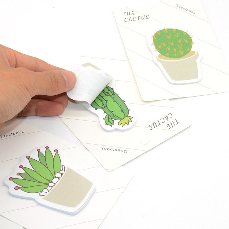 Notas Adhesivas de Cactus Kawaii, Bloc de Notas, papelería Creativa, Notas Adhesivas,...