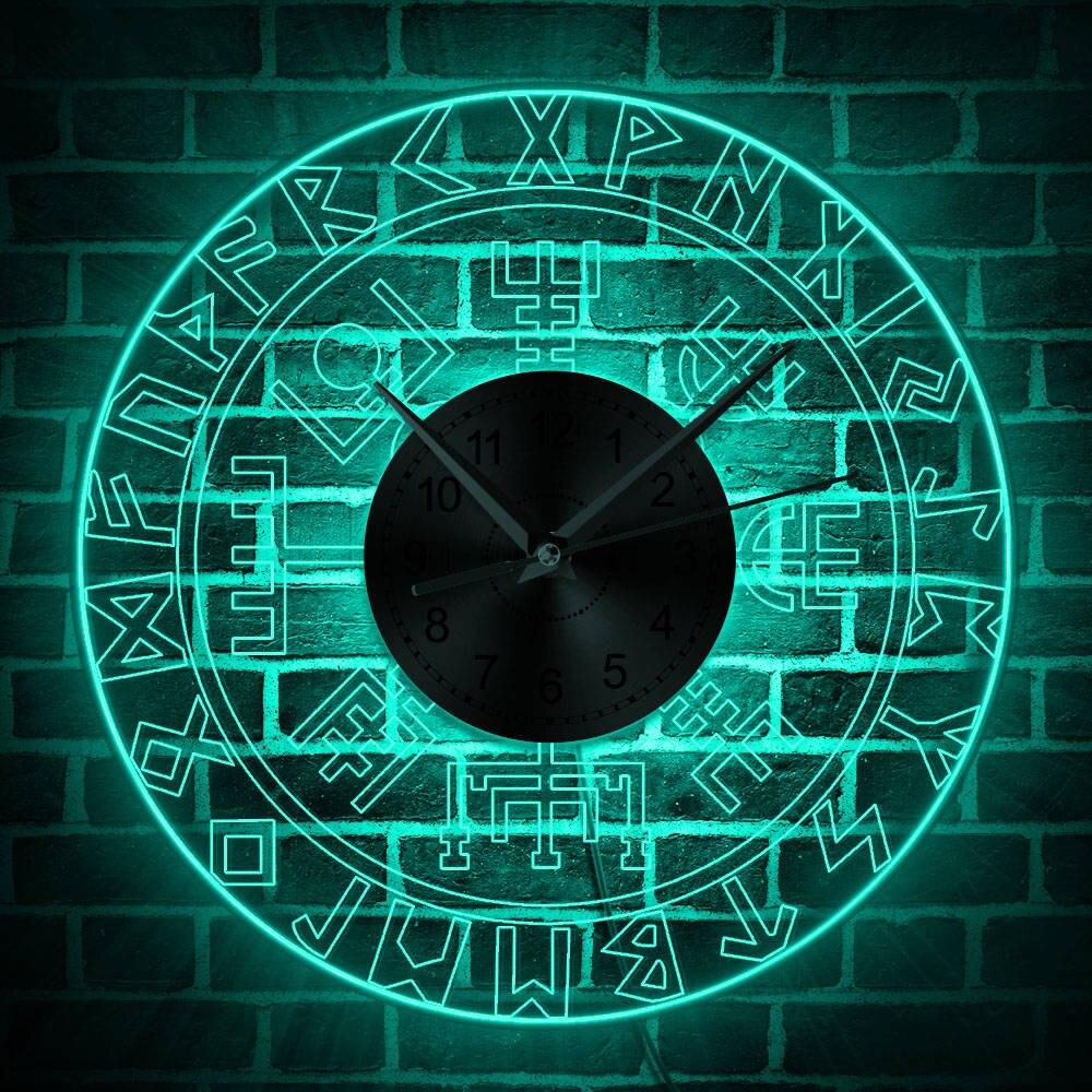 Vegvisir викинговый компас винтажный дизайн освещенные настенные часы Runic компас изменение цвета настенный светильник викинговый защитный символ
