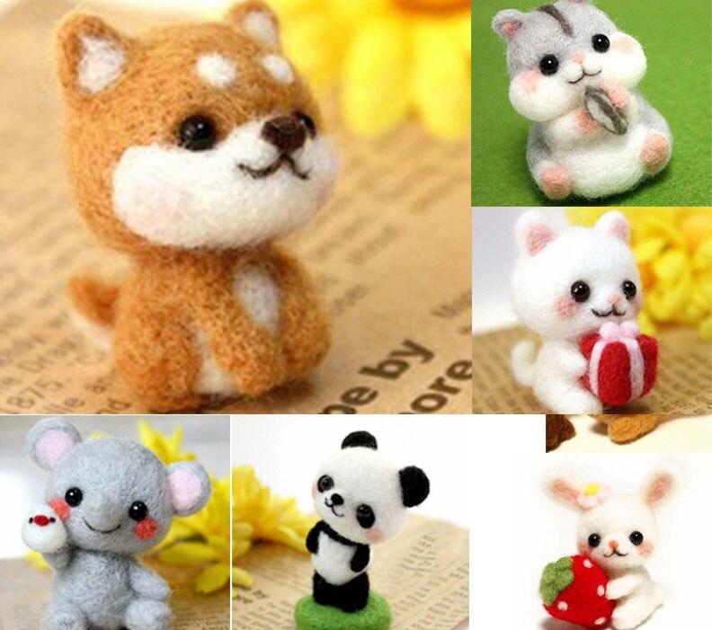 Ручная работа, игрушки для домашних животных, кукла, шерсть, войлок, игла, кошечка, сделай сам, милые животные, собака, панда, кролик, шерсть, валяние, упаковка, не Готовая