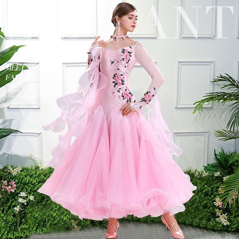 Rosa de baile vestido de baile estándar de talla grande traje de baile de salón rojo tango vestido vals vienés vestido foxtrot vestido de baile de quickstep