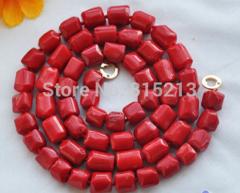 "Ddh001473 naturel 35 ""13x15mm massif de corail rouge perle COLLIER 28% Discount"