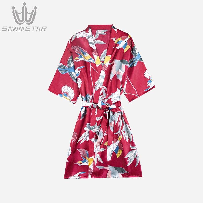 Women Sexy Silk Robe Wedding Bride Robe Satin Robes Print Flower Bathrobe 2020 Summer Women Pajamas Sleepwear Kimono