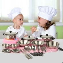 Nouveau casseroles en acier inoxydable casseroles jouet Miniature semblant jouer cadeau pour enfant simulé outil de cuisine