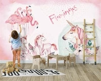 beibehang custom wall papers home decor nordic pink simple flamingo childrens room decoration fashion classic stereo wallpaper