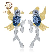 GEMS BALLET 925 Sterling Silver Handmade Earrings 1.30Ct Natural London Blue Topaz Cute Bird Stud Earrings for Women Wedding