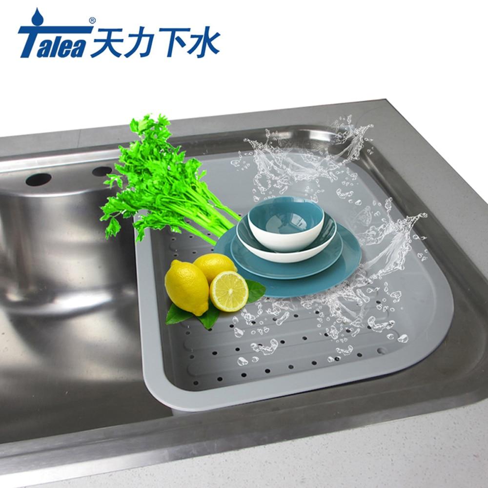 Talea المطبخ صينية طبق تجفيف تجفيف بالوعة استنزاف سلة بلاستيكية الخضار الفاكهة تجفيف غسل حامل