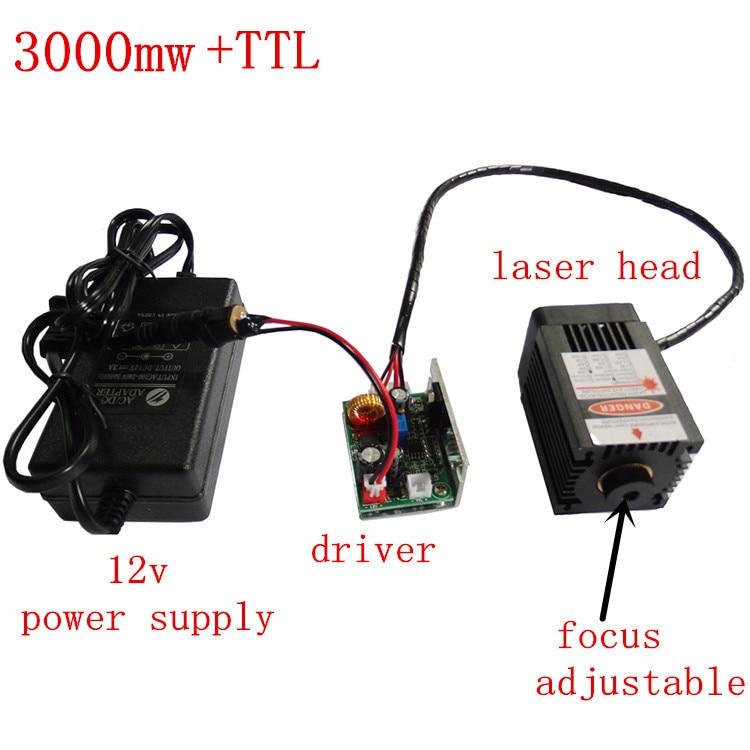 ماكينة نقش بالليزر 3000mw لوحدة ليزر زرقاء مركزة عالية الطاقة 450nm وحدة قطع ونقش بالليزر وحدة TTL
