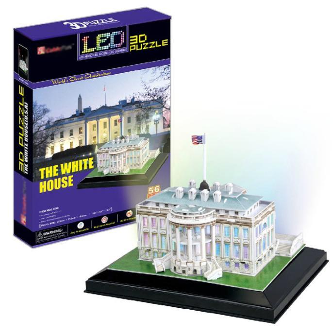 T0435 3d quebra-cabeças américa casa branca com base diy modelo de papel de construção presentes criativos crianças brinquedo educativo versão comum