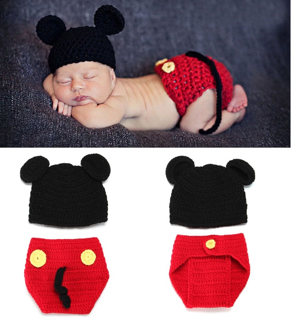 Newborn Photography Props baby Hat and Shorts Set Hand Crochet Children Clothing and Accessories Infant Animal Beanie Hats недорого