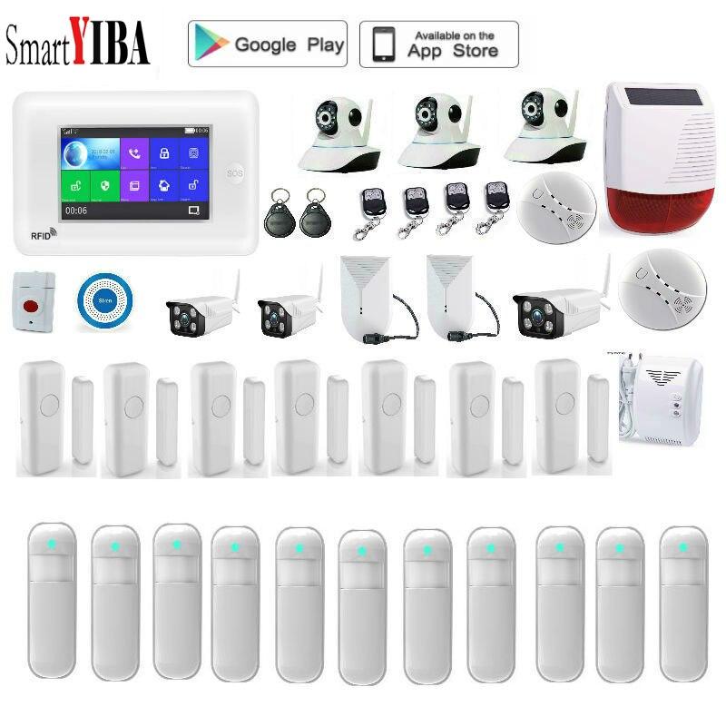 SmartYIBA aplicación remota Wifi GSM Alarma Residencial con Amazon Alexa cámara IP al aire libre GPRS SMS alarma antirrobo sistema de seguridad para hogar