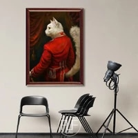 nordic style vintage home decoration animal canvas painting cardinal cat portrait posters and print wall art picture for bedroom