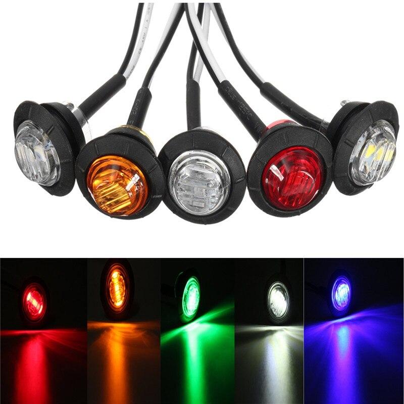 1 pçs mini 12 1 polegada redonda led bullet button lado marcador luzes caminhão do carro reboque lâmpadas led