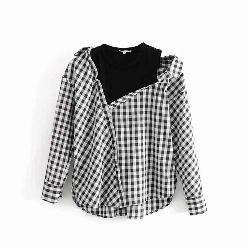 2019 Fashion Elegant Off Shoulder Blouse Women Long Sleeve Patchwork Plaid Shirts Tops Ladies Korean Fake Two piece blouses