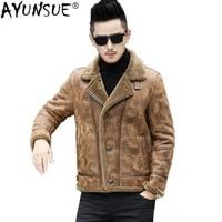 ayunsue genuine leather jacket men short motor sheepskin coat mens leather jackets korean coats l16647k kj1331