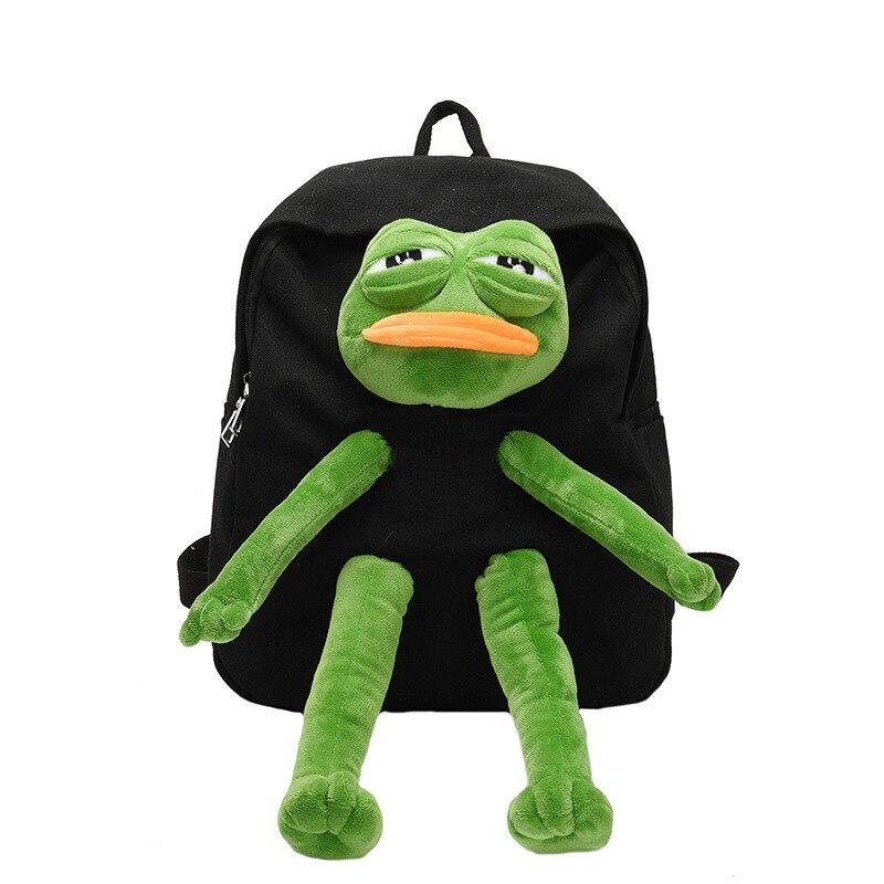 Mochila de Lona das Meninas Bolsa de Ombro Bolsa de Viagem Frog Estéreo Boneca Kawaii Grande Capacidade Mulheres
