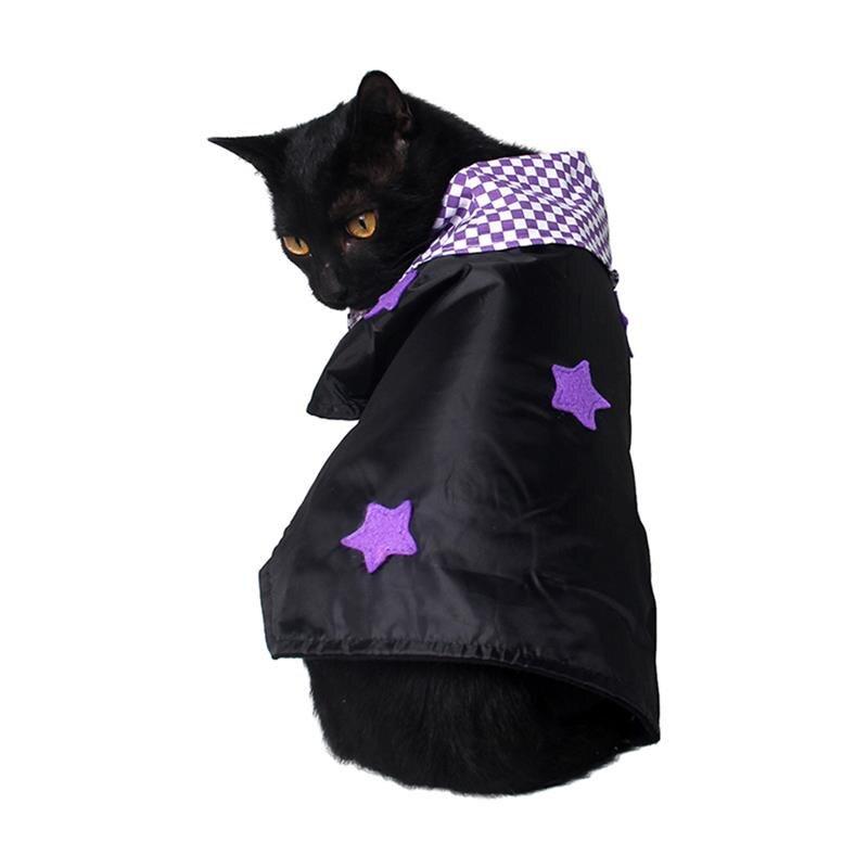 Cuadros estrella Gato perro capa disfraz de bruja para Halloween Collar de Cosplay pañuelo para lazo con Bell fiesta de disfraces regalo para mascotas