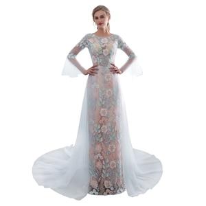 In stock 2019 Luxury Arrival Evening Dress Mermaid Two Sleeve Flower Empire Evening Gown Prom Dresses Vestido De Festa Longo