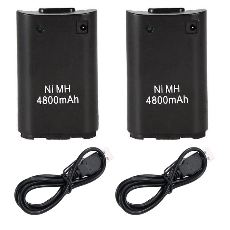 2x4800mAh Paquete de batería con Cable de cargador USB para Microsoft Xbox 360 juego inalámbrico controlador de reemplazo del Control de Mando Paquete de batería